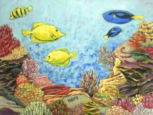 Hope Tropical Ocean Oil Painting with fish and coral